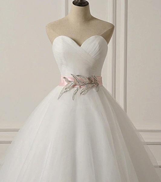 White Tulle Backless Long Beaded Applique Long Wedding Dress_2