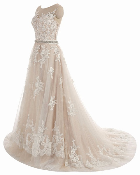 Creamy Tulle Round Neck White Lace Applique Long Wedding Dress_2