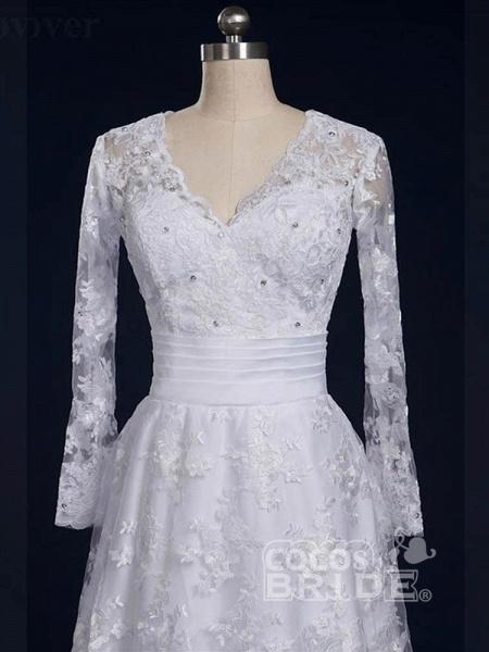 Elegant V-Neck Long Sleeves Covered Button Lace Wedding Dresses_5