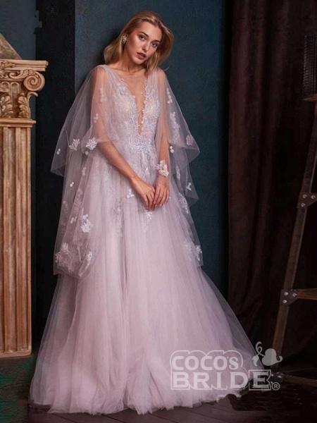 V-Neck Backless Tulle Ruffles Wedding Dresses_2