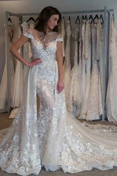 Gorgeous Cap Sleeves Sheer Neck Long Detachable Train Wedding Dress_1