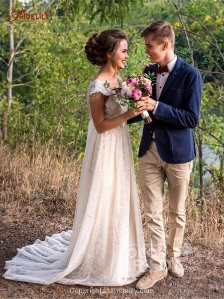 V Neck Backless Boho Wedding Dresses_2
