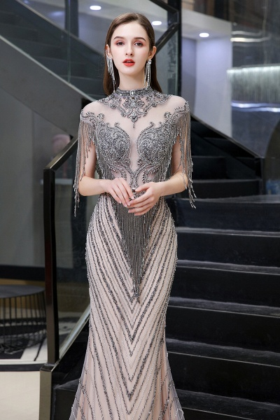 High Neck Cap sleeves Sparkle Beads Long Prom Dresses_8