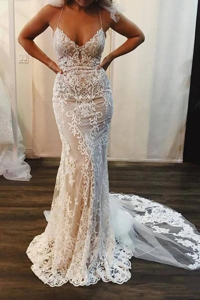 Spaghetti Strap Mermaid Lace Applique Long Train Wedding Dress_1