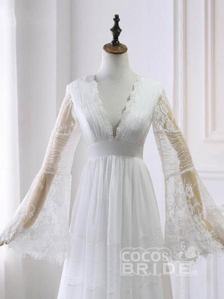 Elegant Long Sleeves V-Neck Tulle Wedding Dresses_3