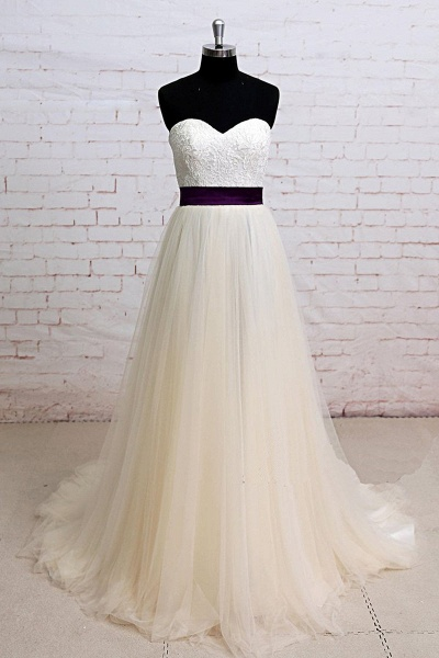 Ivory Lace Strapless Sweep Train A Line Wedding Dress_1