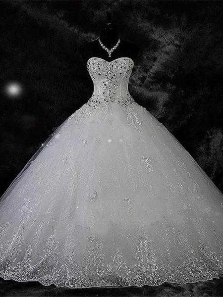 Modest Sweetheart Beaded Ball Gown Wedding Dresses_1