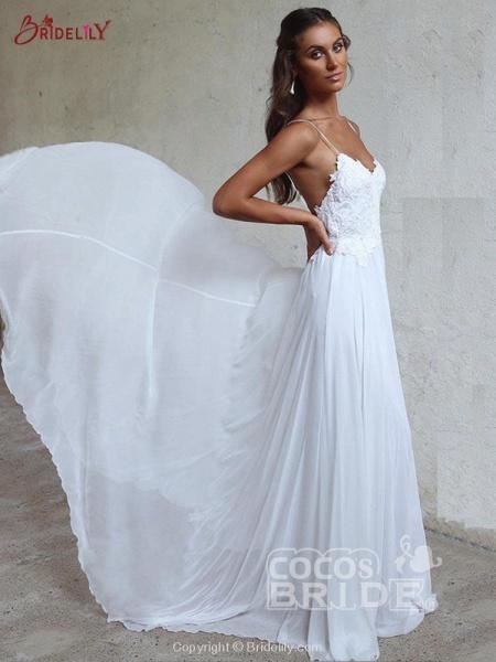 Modest Spaghetti-Strap A-Line Ruffles Wedding Dresses_2