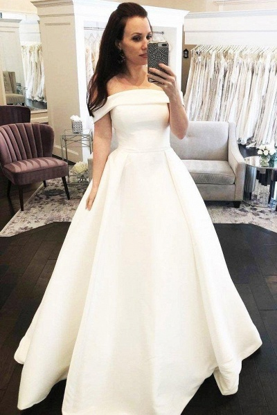 Simple A-Line Off the Shoulder Button Covered Long Cheap Wedding Dress_1