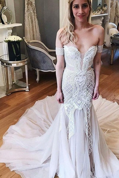 Gorgeous Mermaid Off-the-Shoulder Chapel Train Ivory Tulle Wedding Dress_1