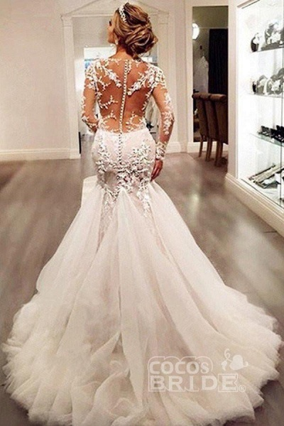 Gorgeous Long Sleeves Mermaid V-neck Gown Ivory Wedding Dress_3