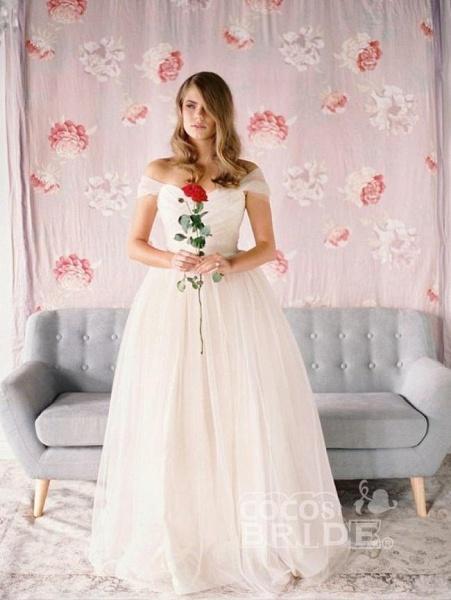 Simple Beach A-Line Off-Shoulder Tulle Wedding Dress_2