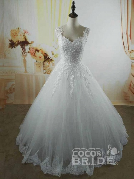 Pearls A-Line Tulle Wedding Dresses_4