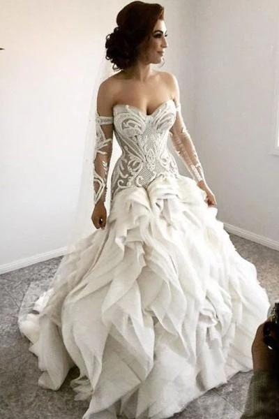 Gorgeous Sweetheart Detachable Sleeves Unique Wedding Dress_1