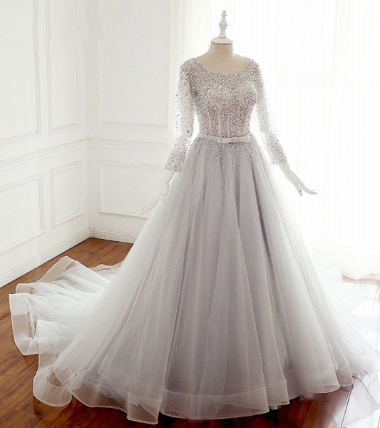 Light Gray Tulle Silver Beaded Long Sleeve Wedding Dress With Bow_3