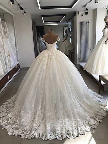 V-Neck Lace Sequins Ball Gown Wedding Dresses_2