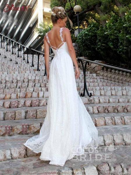 Glamorous V-Neck Backless Lace A-Line Wedding Dresses_4