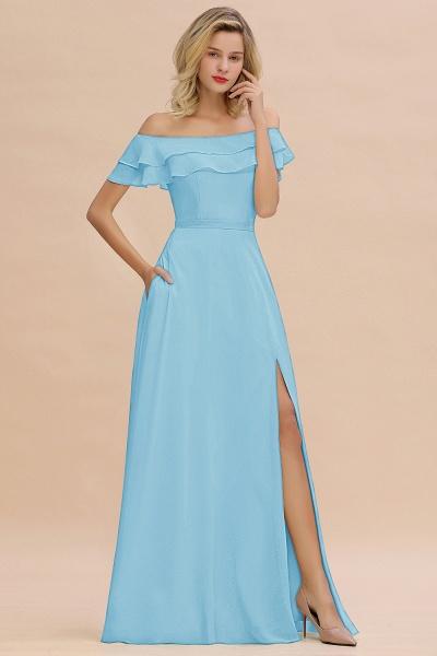 BM0775 Off-the-Shoulder Front Slit Mint Green Long Bridesmaid Dress_23