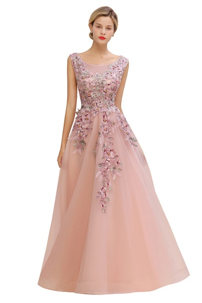 Gorgeous Dusty Pink Tulle Long Lace Appliques Prom Dress_8