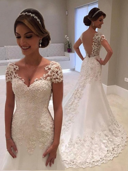Affordable V-Neck Short Sleeves Lace Mermaid Wedding Dresses_1