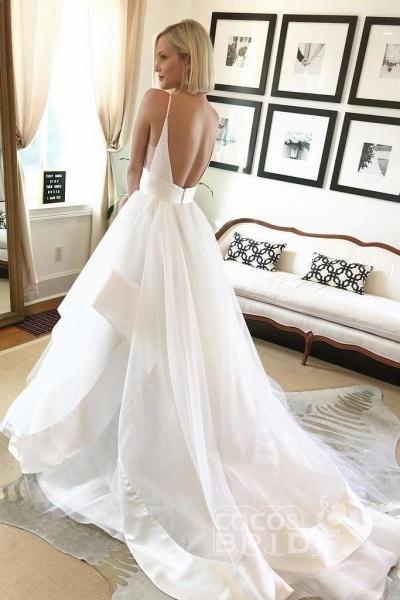 White Sapghetti Straps Beach Dress Sexy Simple Boho Wedding Dresss_3