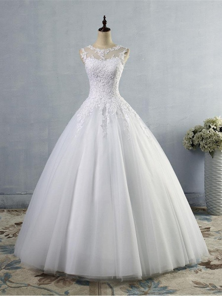 Glamorous Tulle Lace Ball Gown Wedding Dresses_1