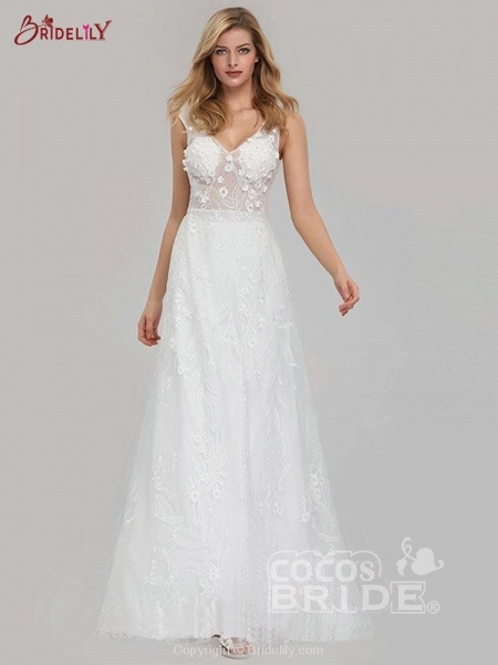 Elegant V-Neck Lace Wedding Dresses_2
