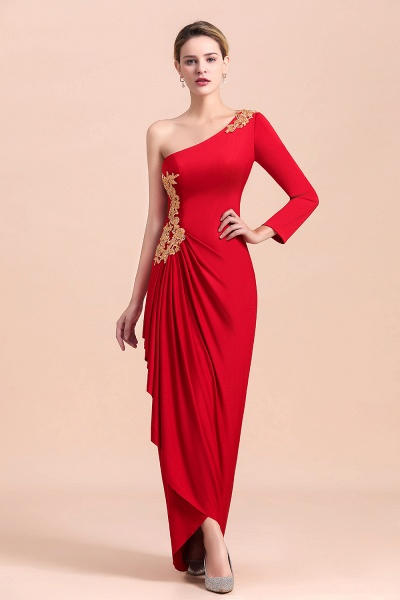 One-Shoulder Gold Appliques Long Sleeves Ruffles Mother of Bride Dress_7