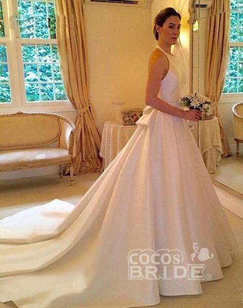 A Line Halter Satin Simple Backless Sleeveless Wedding Dress with Bow_5