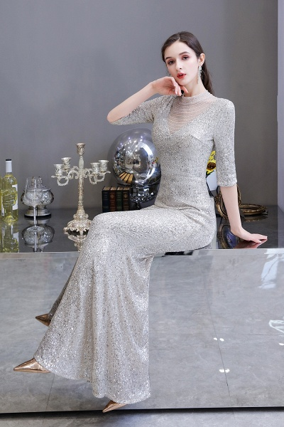 Gorgeous Silver Long sleeves Long Prom Dress_16
