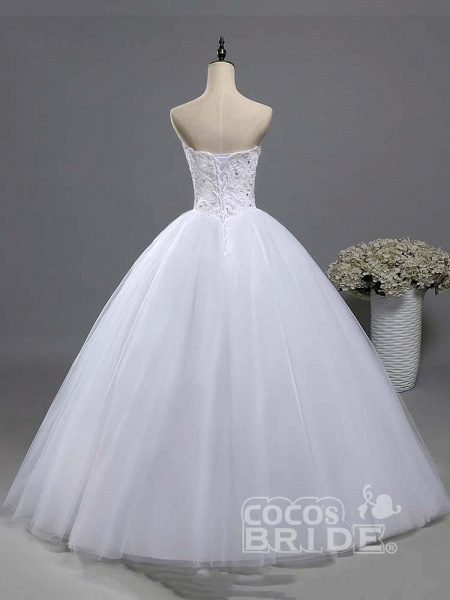 Gorgeous Sweetheart Beaded Tulle Ball Gown Wedding Dresses_2
