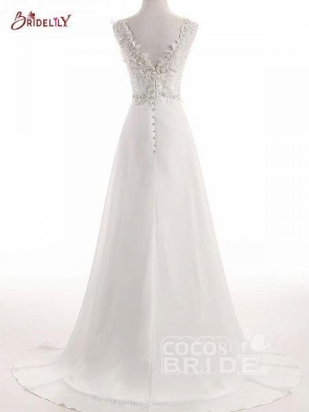 Elegant V Neck Lace Chiffon A-Line Wedding Dresses_2