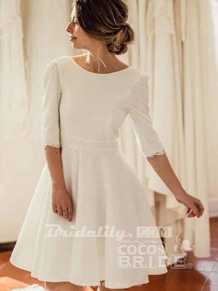 Modest Half Sleeves Open Back Short Wedding Dresses_3