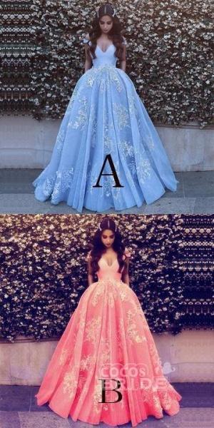 Light Blue Ball Gowns Lace Appliques Off Shoulder Big Wedding Dress_2