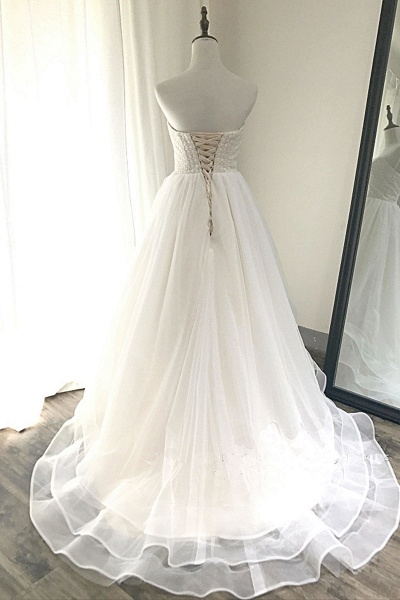 Ivory Tulle Sweetheart Neck Crystal Long Layered Wedding Dress_3
