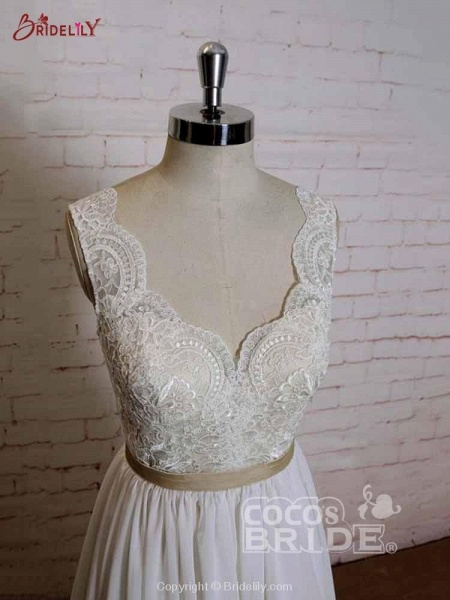 Modest Lace Chiffon A-Line Wedding Dresses_3