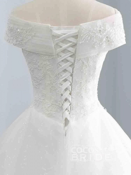 Gorgeous Cap Sleeves Sequins Lace-Up Ball Gown Wedding Dresses_4