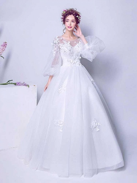 Luxury Long Sleeves Flowers Ball Gown Tulle Wedding Dresses