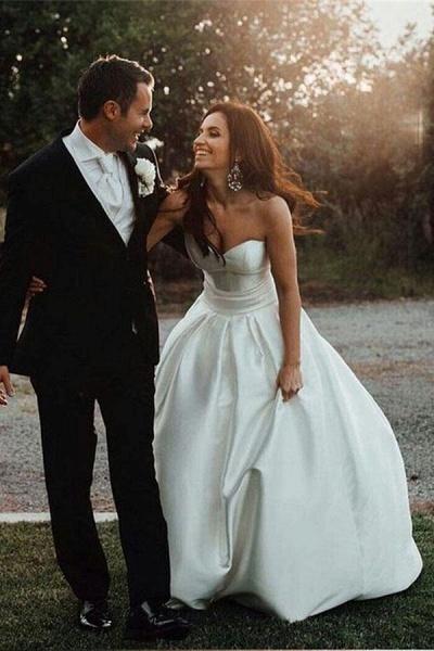 Simple Sweetheart Satin with Bowknot Cheap Beach Wedding Dress_1