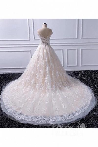 Gorgeous Sheer Neck Cap Sleeves Lace Appliques A Line Wedding Dress_2