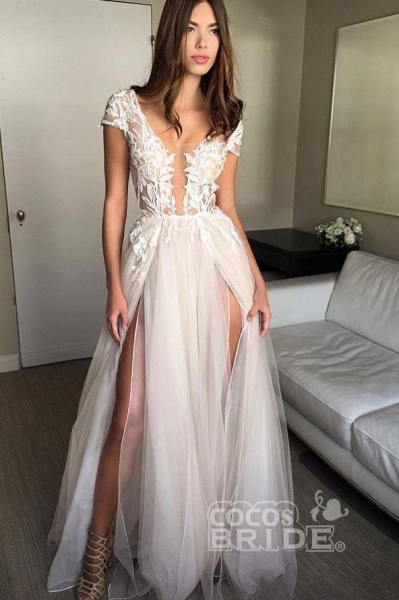 Cap Sleeve Deep V-neck With Appliques Sexy Split Tulle Wedding Dress_3