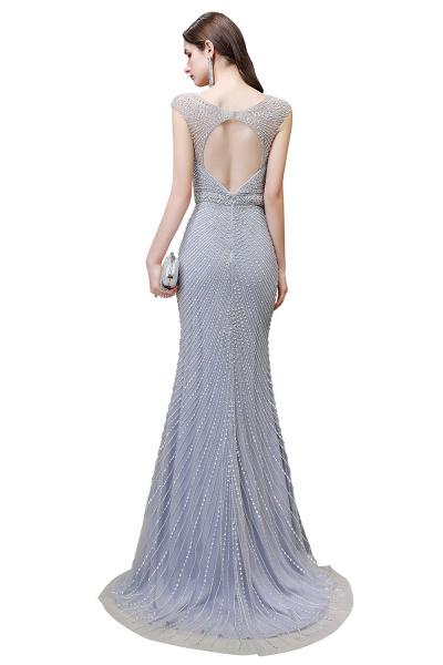 Sexy Mermaid V-neck Silver Long Prom Dress_24