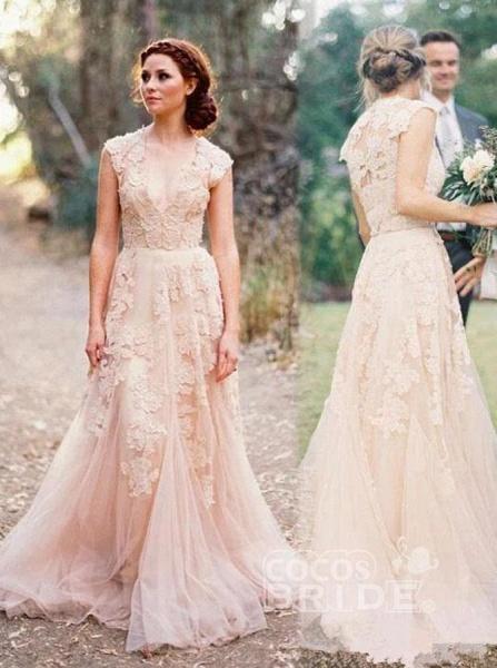 Elegant V-neck Sleeveless Cap Sleeves Floor-Length Wedding Dress_4