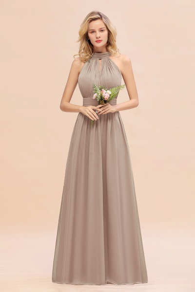 BM0758 Glamorous High-Neck Halter Bridesmaid Affordable Dresses with Ruffle_16