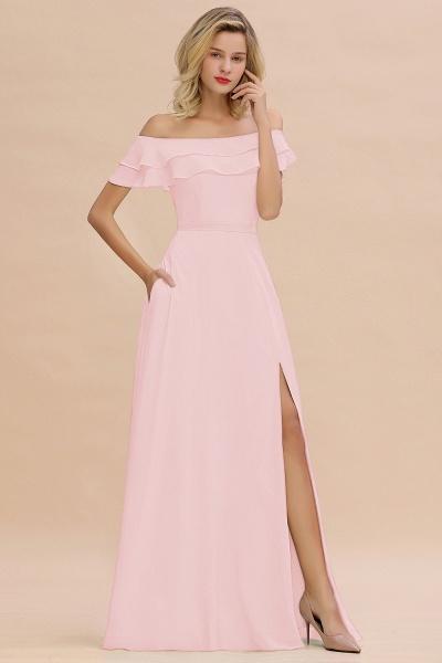 BM0775 Off-the-Shoulder Front Slit Mint Green Long Bridesmaid Dress_3
