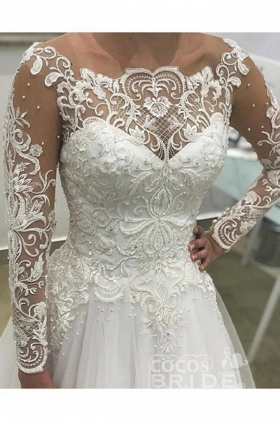 Puffy Long Sleeves Gorgeous Tulle Beads Wedding Dress_2
