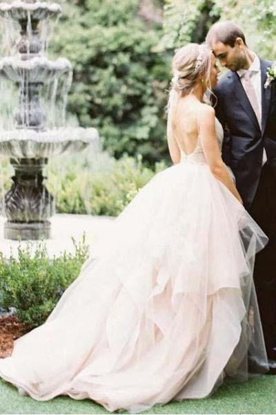 Puffy Spaghetti Straps V Neck Backless Asymmetrical Light Pink Long Wedding Dress_1
