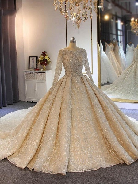 luxury Full Lace Beading Long Sleeves Ball Gown Wedding Dresses_1
