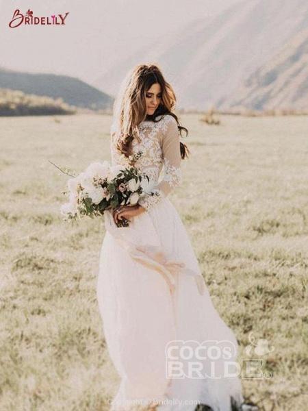 Beach Boho Wedding Dresses with Long Sleeve_3