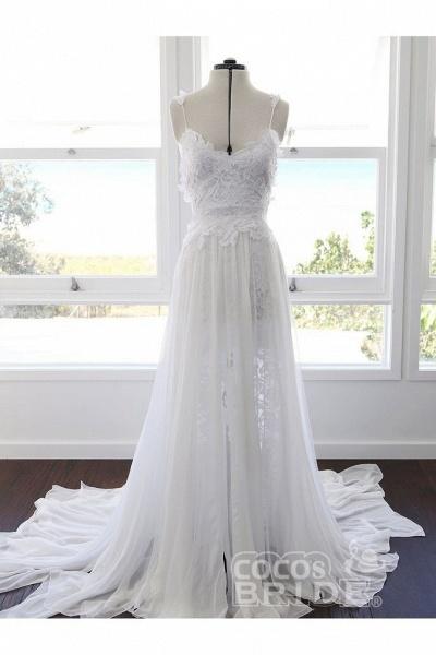 Bohemian Cheap Spaghetti Straps Long Beach Wedding Dress_3
